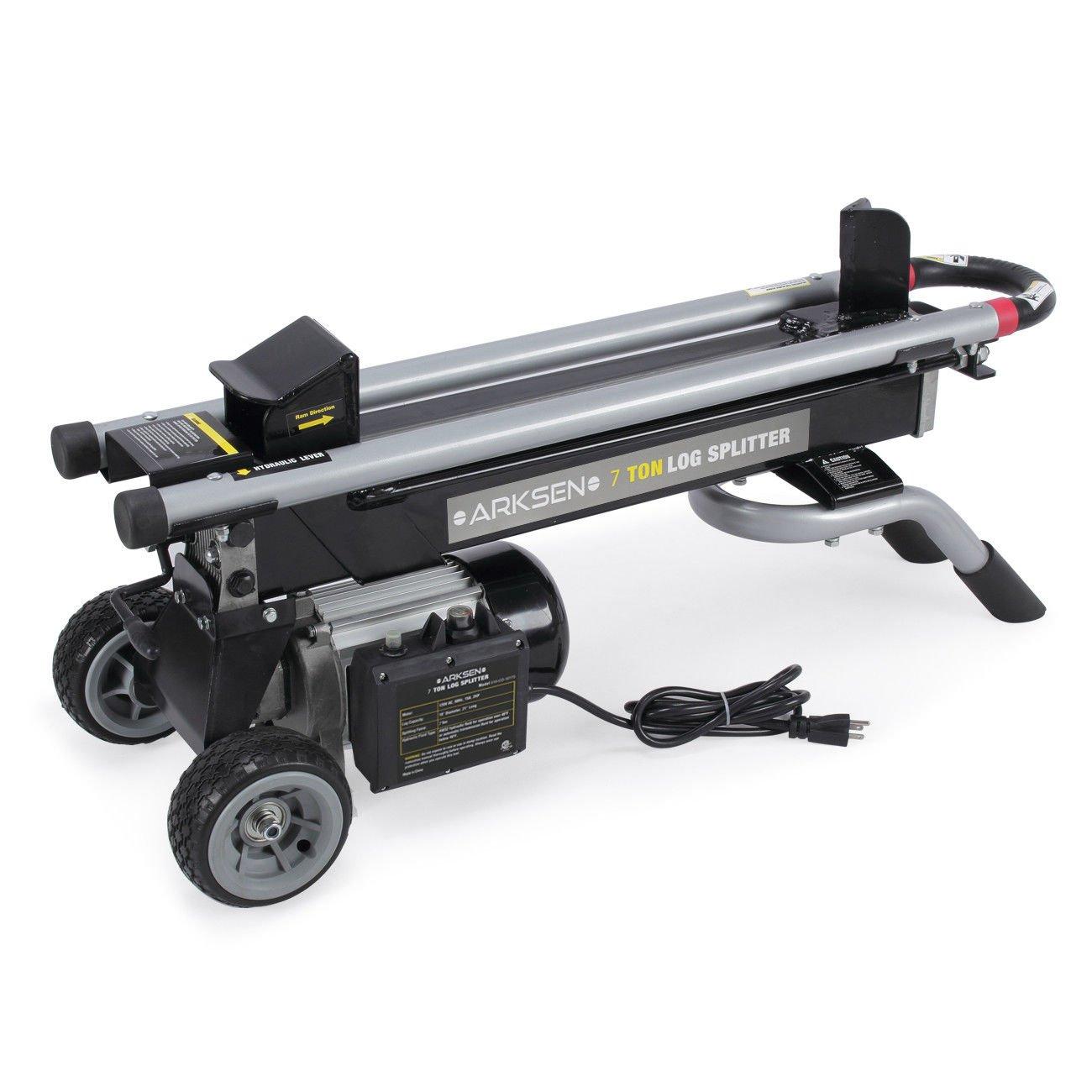 ็Happybeammy 7 Tons Electric Wood Tree Power Tool Log Cutter Splitter 2 HP with Wheels