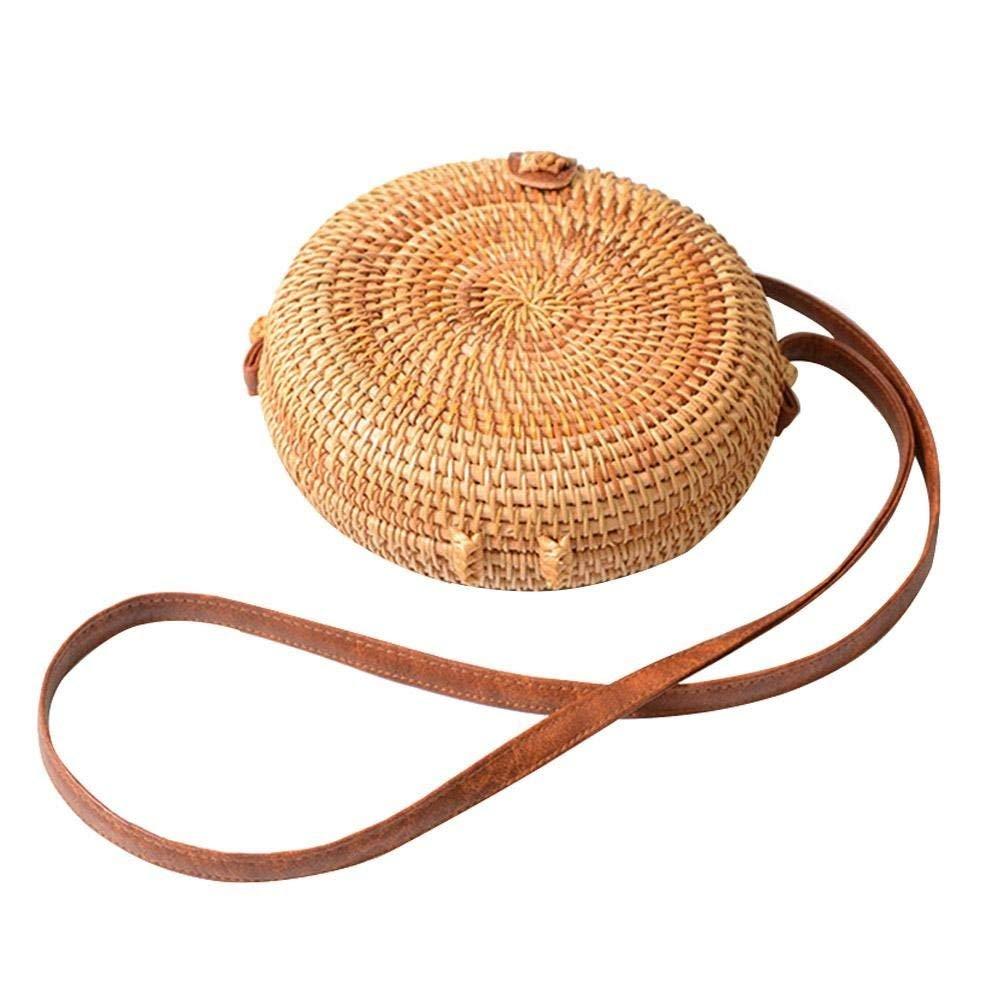 Zinuo Exquisite Straw Bag Women Rattan Woven Shoulder Handbag Summer Beach Crossbody Bag (Circle)