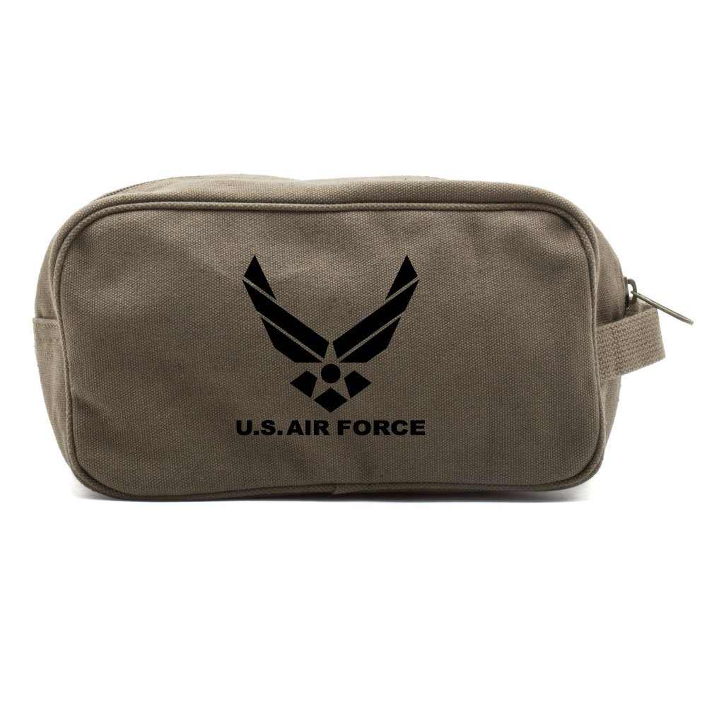 US Air Force Canvas Shower Kit Dual Compartment Travel Toiletry Bag, Olive & Bk