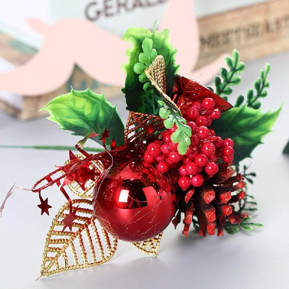 TIANHOO Arreglo Floral navideño, Navidad Conos de Pino Artificiales Berry Stems Decoración Ramos Flores Artificiales Guirnalda Decorativa Adornos de árbol-5 Piezas (Rojo)