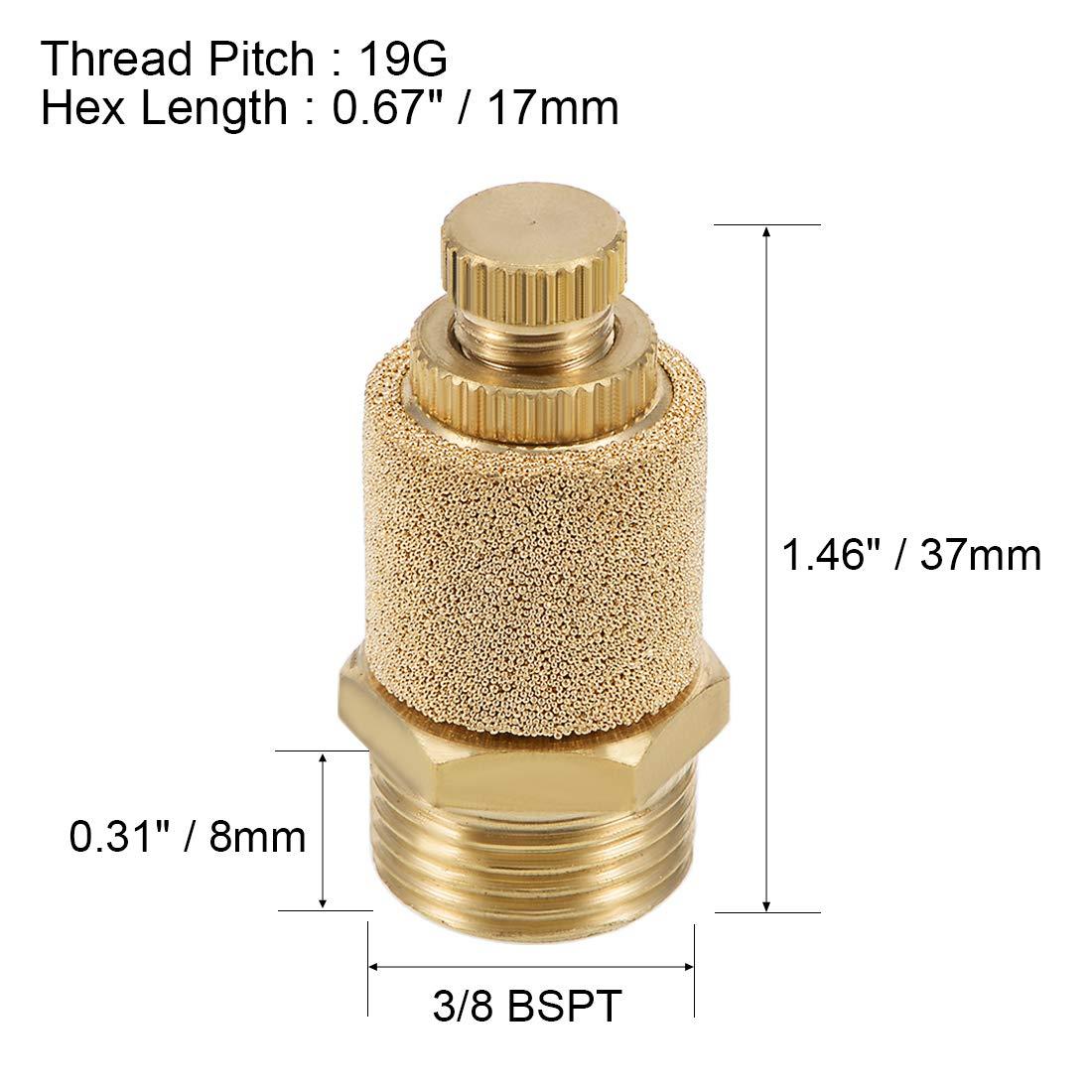 uxcell Top Adjustable Pneumatic Air Exhaust Silencer Muffler Copper 3//8 BSPT Gold Tone 2pcs