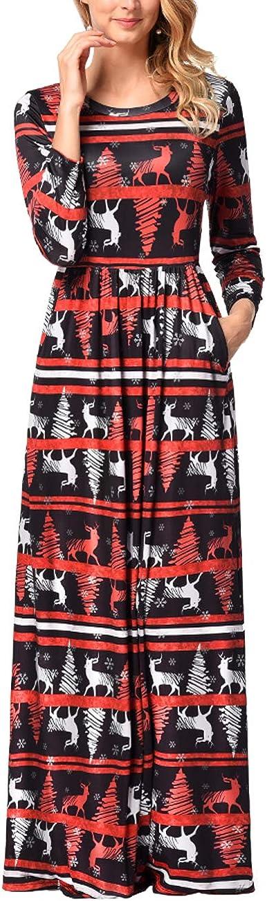 TALLA S=ES 36-38. FeelinGirl Mujeres Vestido Largo Estampado Floral de Fiesta Navidad Falda Maxi de Manga Larga Nochebuena Multicolor-06 S=ES 36-38