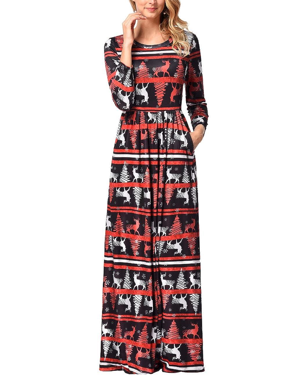 TALLA 3XL=ES 50-52. FeelinGirl Mujeres Vestido Largo Estampado Floral de Fiesta Navidad Falda Maxi de Manga Larga Nochebuena Multicolor-06 3XL=ES 50-52