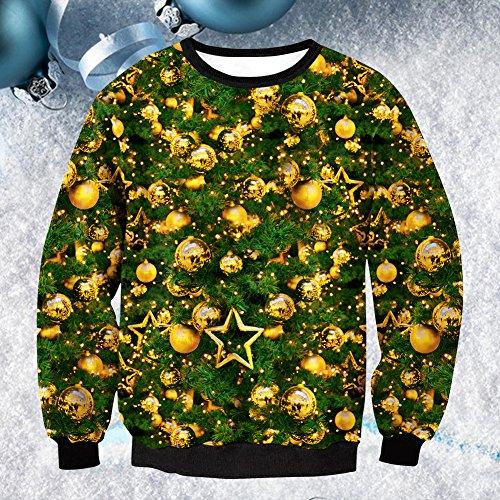 Zjchao Unisexe Sweat Noël Robe Pull, Pull Sauteur En Longueur Noël Col Rond Blouse Manches Avec Dessin 3d D'impression Comme Un Style De Cadeau De Noël 1, L