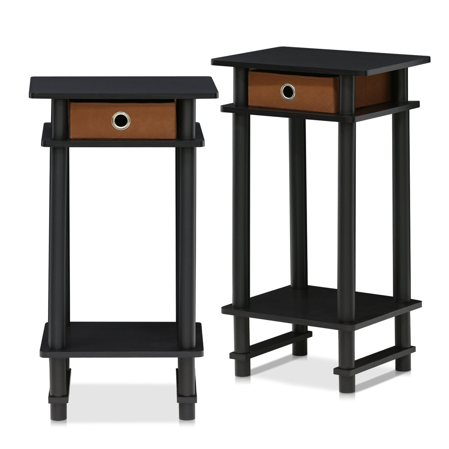 Furinno 2-17017EX Turn-N-Tube End Table, 2-Pack, Espresso by Furinno