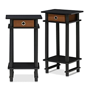 FURINNO Turn-N-Tube End Table, 2-Pack, Espresso
