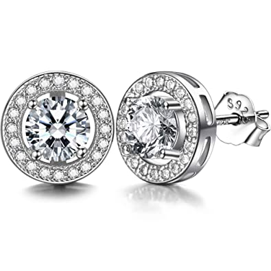 e36d09f77 Lydreewam 925 Sterling Silver Stud Earrings for Women Men With 3A 6MM Round  Cubic Zirconia: Amazon.co.uk: Jewellery