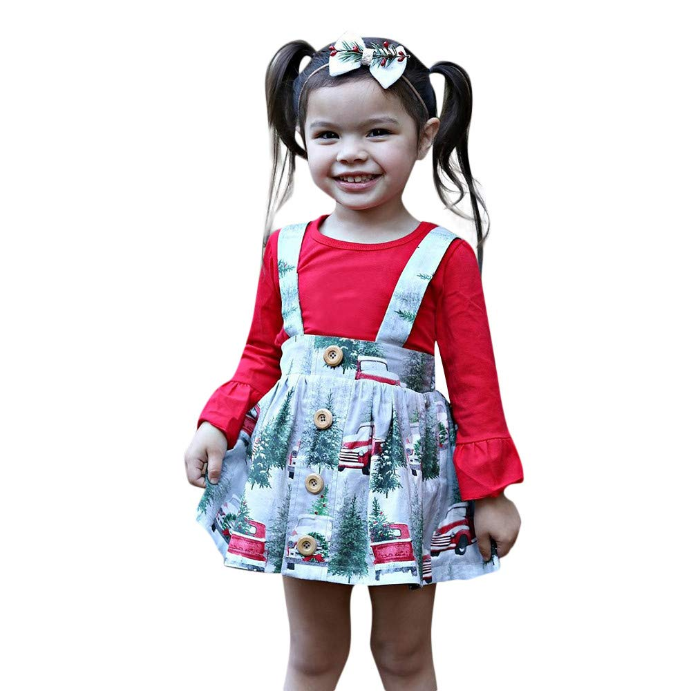 Baby Girl Christmas Clothes Toddler Kids Solid Top Christmas Overall Skirt Princess Outfits Set