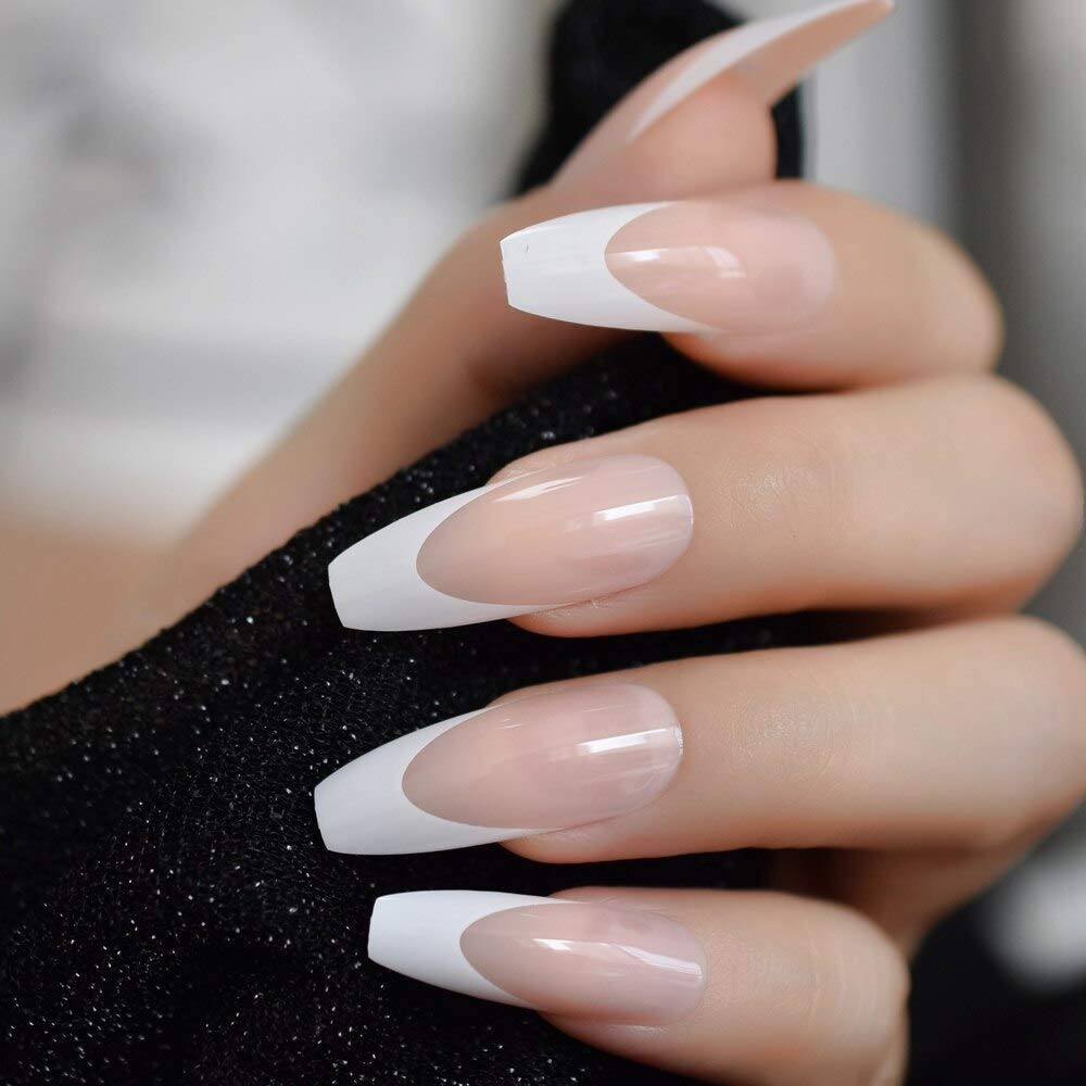 Amazon Com Coolnail White French Ballerina Fake Nails Natural