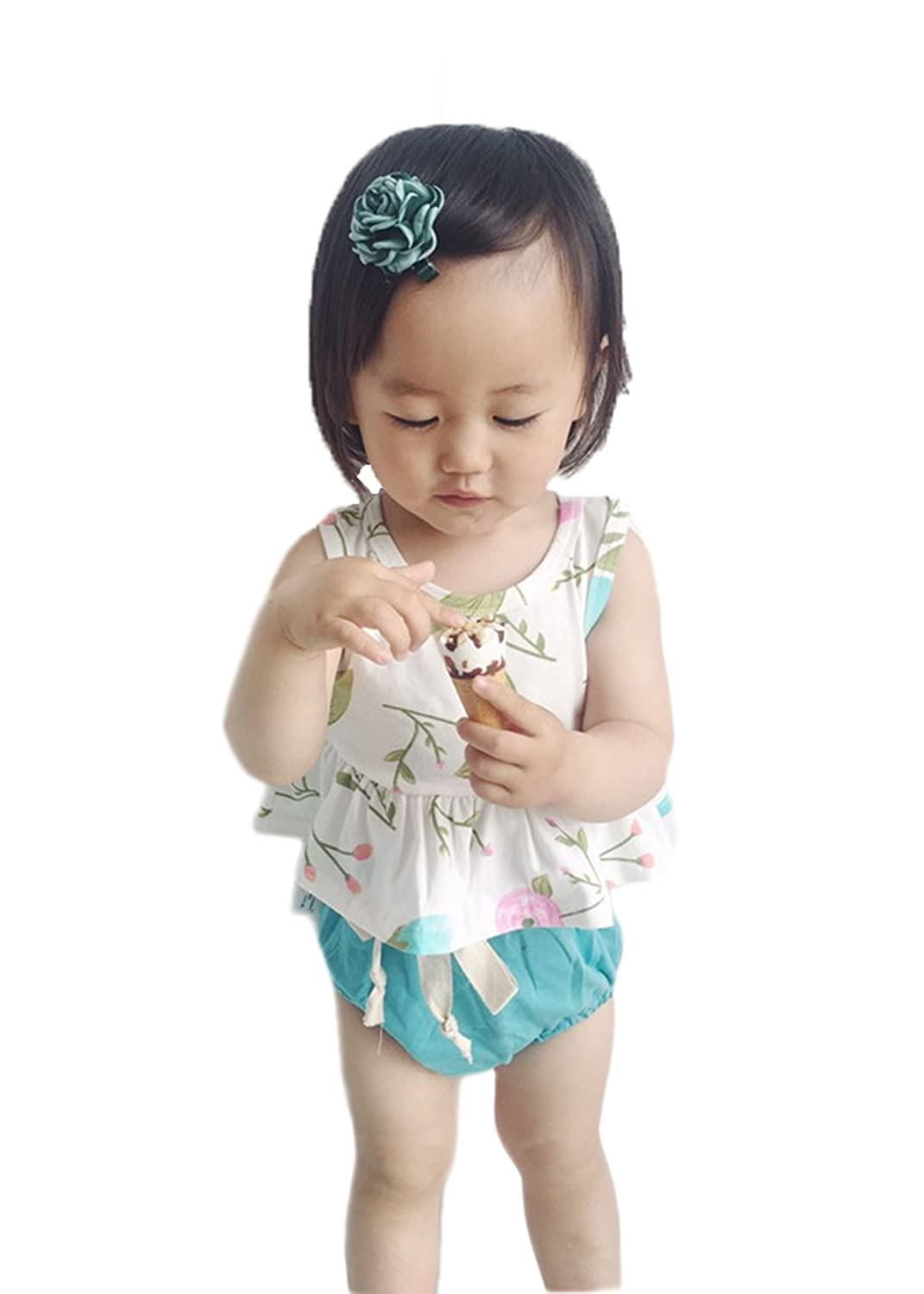 c7d5ad9ee Amazon.com  Baby Girls Summer Swimsuit Two-Pieces Sleeveless Tank ...