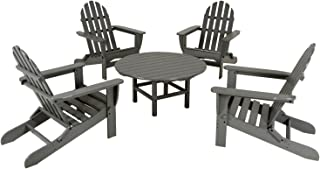 product image for POLYWOOD PWS119-1-GY Classic Adirondack 5-Piece Conversation Set, Slate Grey