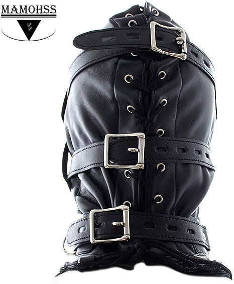 Amazon.com: MAMOHSS Unisex Leather Punk Gothic Full Face ...