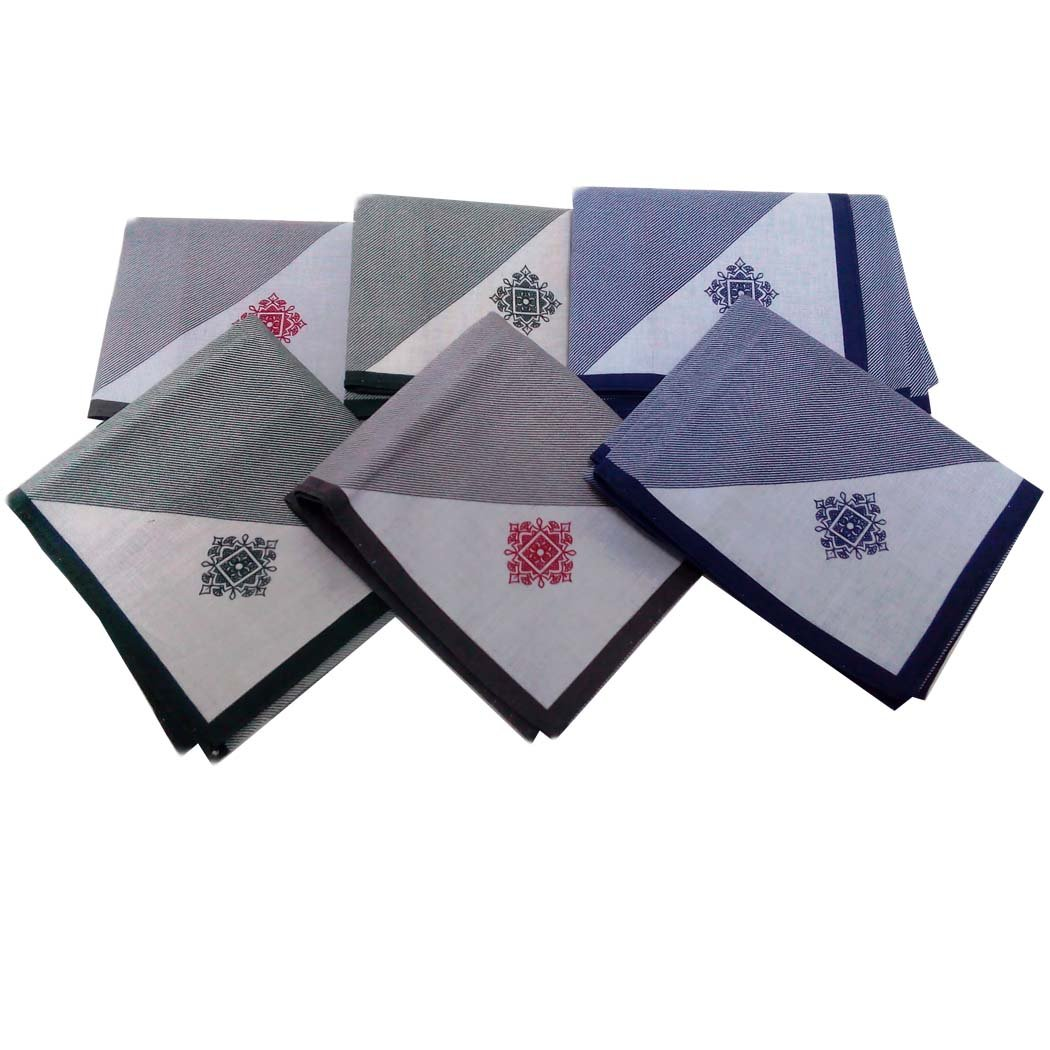 OWM Handkerchiefs Set Gentlemen Hankie Gift Set Pure Cotton Handkerchiefs for Men (Pack of 6)