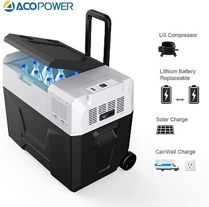 Amazon Com Acopower Ra Portable Solar Fridge Freezer For Car And Outdoor 4 F True Freezing 42quarts Garden Outdoor