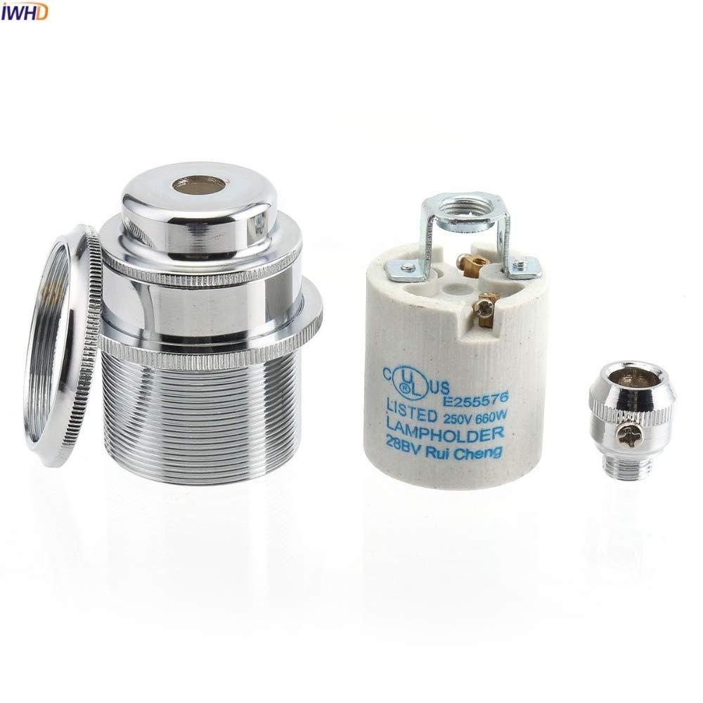 Lamp Base - DIY Aluminum Silver Fitting E27 Socket Lamp Base Homekit 110-220V Vintage E27 Light Bulb Holder Edison CE UL - (Color: E27, Base Type: 4 pcs) by Kamas (Image #3)
