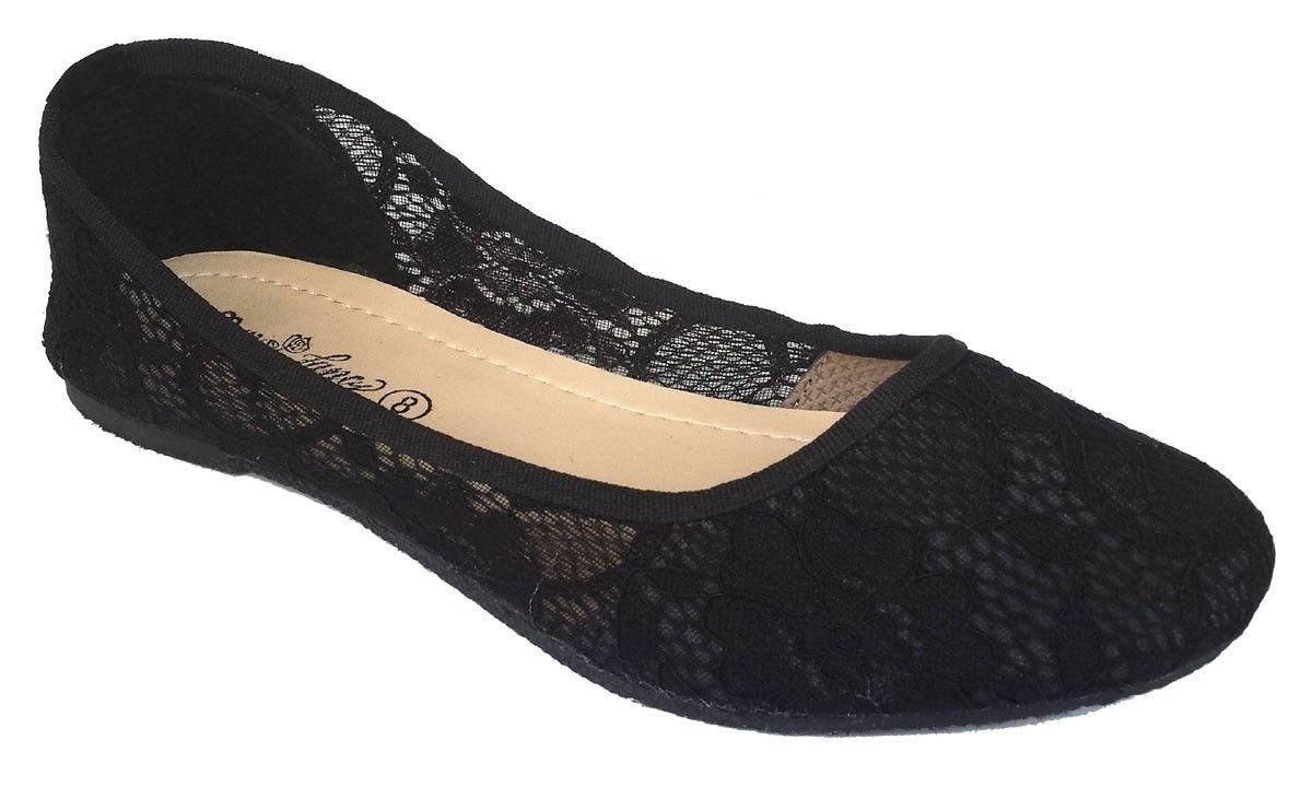 Elegant Women's New Classic Summer Fashion Crochet SLIP-ONS BLACK BALLET FLATS 8.5, M US