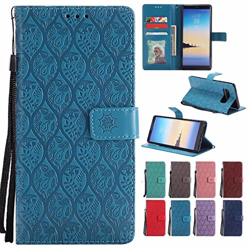 Laybomo Samsung Galaxy Note8 / N950 Cover Case, PU Leather Wallet Folio Flip Case Soft TPU Photo Frame Stand Magnet Protection Holster for Galaxy Note 8, Vines Stripes (Blue) - Blue Vine Stripe