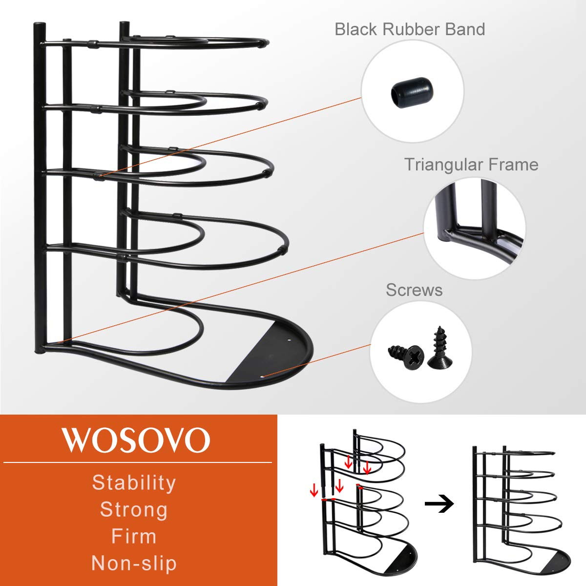 Pan Pot Lid Rack Organizer Shelf Heavy Duty, Kitchen Cabinet Cookware Rack Countertop Pantry Storage Holder, Black (Upgraded version) by WOSOVO (Image #6)