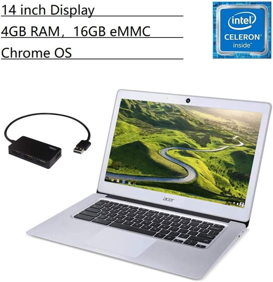 "Acer Chromebook 14 Laptop, 14"" Full HD IPS LED, Intel Celeron N3160 Quad-Core, 4GB LPDDR3 RAM, 16GB eMMC, Wi-Fi, Bluetooth, Webcam, Chrome OS, Bundled with TSBEAU 4 Port USB 2.0 Hub Bundle"
