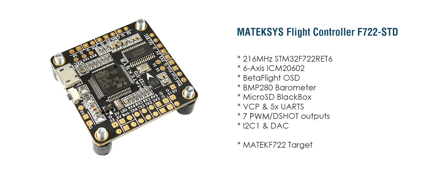 Matek Systems F722 Std Stm32f722 F7 Flight Controller Barometer Signal Conditioner Built In Osd 280 Blackbox For Rc Drone Toys Games