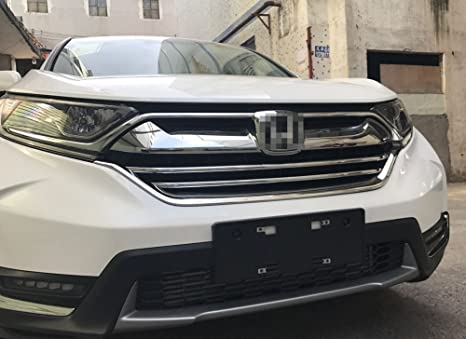 Beautost For Honda 2017 2018 2019 CR-V Crv LX Model Chrome Front Grill Grille Cover Trim 3Pcs