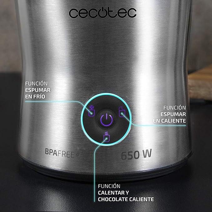 Cecotec Power Moca Spume 5000 Espumador de Leche 650 W, 4 Modos de Funcionamiento, Capacidad de 200 ml