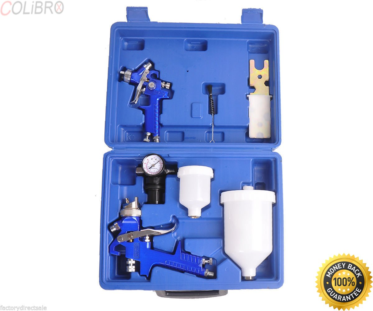 COLIBROX--0.8 & 1.4 Nozzle Paint Base Primer HVLP 2-Spray Guns Kit Gauge Auto Gravity Feed 0.8 & 1.4 Nozzle Paint Base Primer HVLP 2-Spray Guns Kit Gauge Auto Gravity Feed Ship from USA by COLIBROX