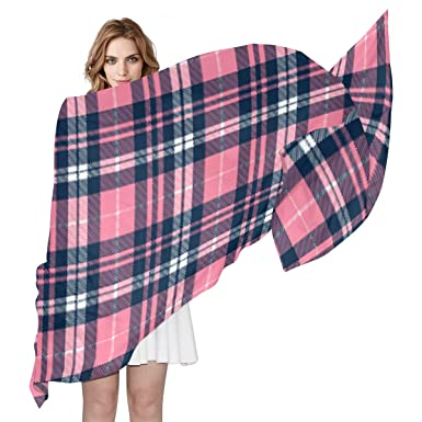 23c523b0f3 Image Unavailable. Image not available for. Color  Wallace Pink Navy Tartan  Women s Shawl Fashion Scarf Silk Like Wrap for Dresses Wedding