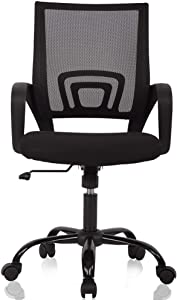 Office Chair Desk Chair Computer Chair Ergonomic Mid Back Mesh Chair with Lumbar Support & Armrest Modern Adjustable Height Swivel Task Executive Chair for Women Men Adult, Black