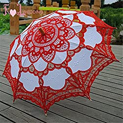 "Saitec® New Fashion 30"" Fashion Red Embroidered Lace Parasol Sun Umbrella Wedding Bridal Bride Birthday Party Decoration"