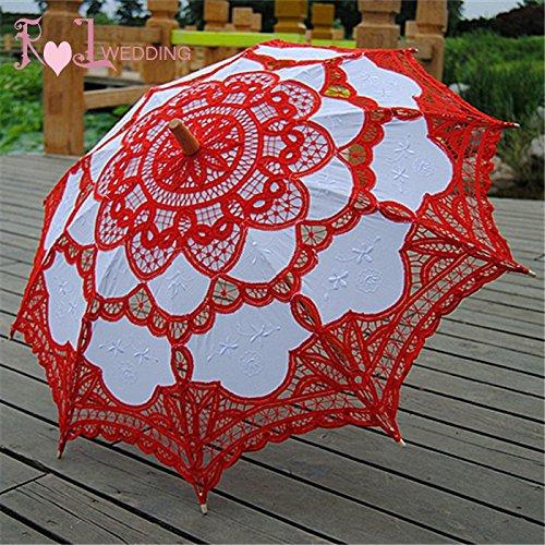 Saitec® New Fashion 30'' Fashion Red Embroidered Lace Parasol Sun Umbrella Wedding Bridal Bride Birthday Party Decoration by Saitec