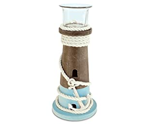 "Puzzled Evian Large Wooden Lighthouse Tea Light Candle Holder, 8.75"" Handcrafted Candle Stick Lamp for Votives & Tiny Candles, Tabletop Centerpiece Bedroom Accessory Coastal Nautical Theme Home Décor"