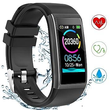 Montre Connectée,Yonmig Écran de 1,14 Pouces Montre Intelligente pour Femmes Homme Montre Sport Watch Moniteur de fréquence Cardiaque étanche IP67 ...