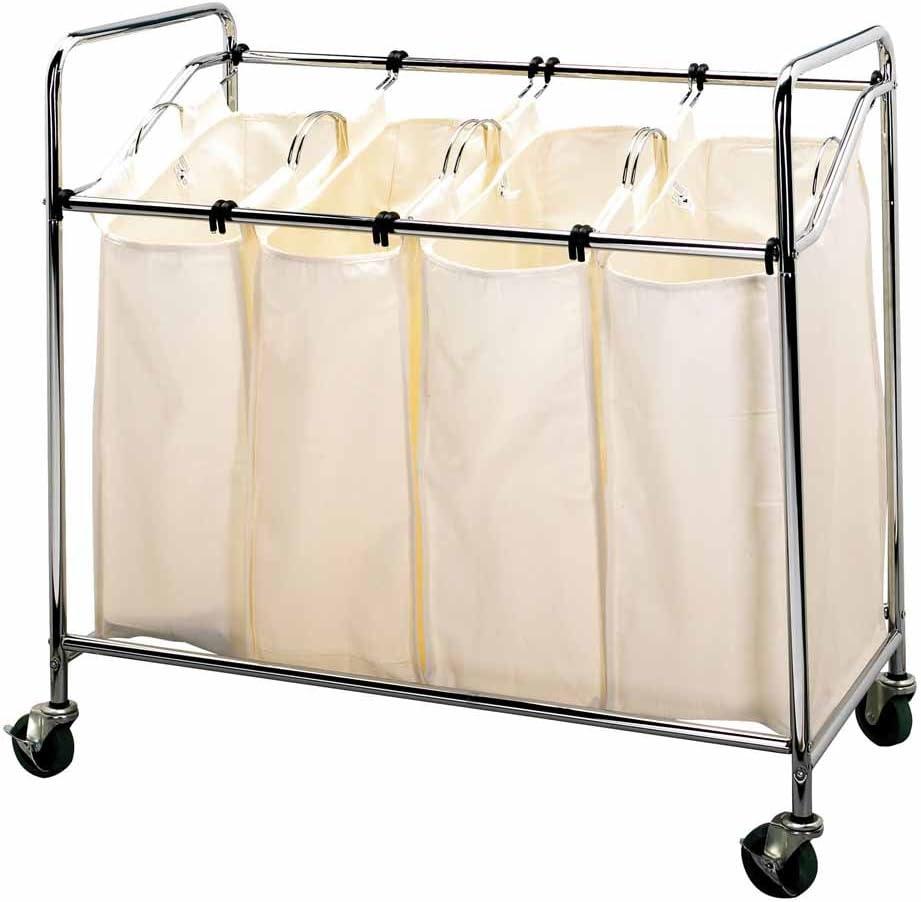 Household Essentials Four Bag Laundry Sorter, Chrome Finish