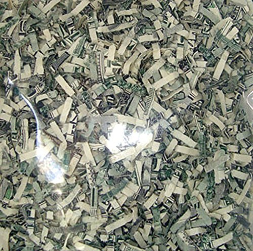 Custom & Unique {Approx 1 Ounce} of Straight Cut Shredded Gift Basket Filler Paper Made From Genuine US Currency w/ Creative American Cool Versatile Fun One Of A Kind Money Design (White & Green)