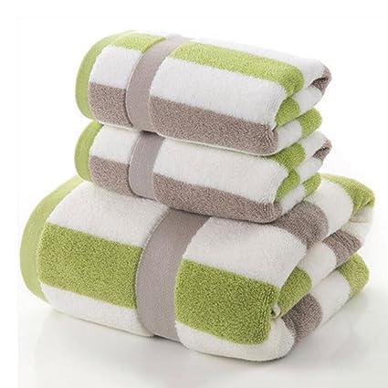 Wddwarmhome Toalla de baño de color verde gris rayado Toalla de algodón suave de algodón suave ...