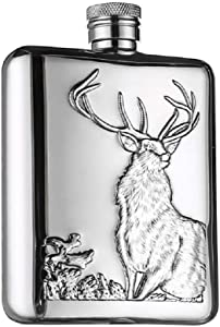 LANZON Hip Flask with Funnel, All 18/8 304 Food Grade Stainless Steel Curved Pocket Flask for Liquor | 6 OZ Capacity | Gift Boxed (Stag)