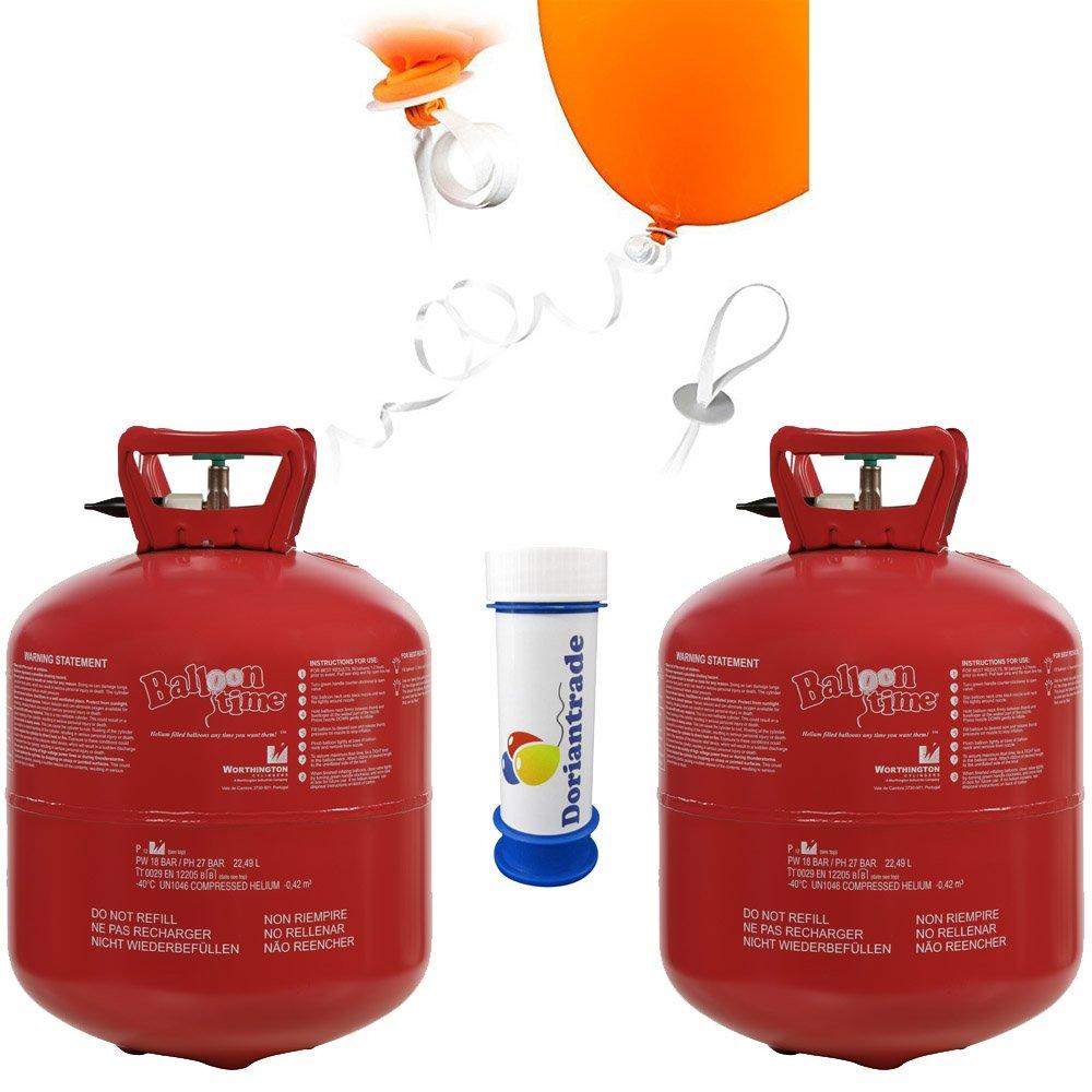 2x Helium Ballongas 0,42 m³ (Gesamt 0,84 m³) für ca. 100 Luftballons Ø 23 cm + 100x Helium Schnellverschlüsse + Gratis Doriantrade Seifenblasen