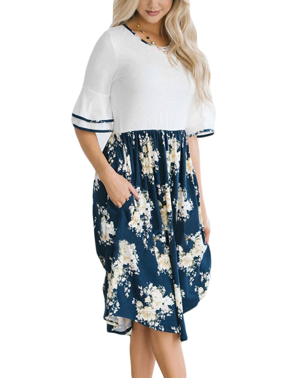 9ba51b8a926 JOSIFER Women s Casual Tshirt Midi Swing Dresses Cute Tunic Loose Dress  with Pockets White Floral