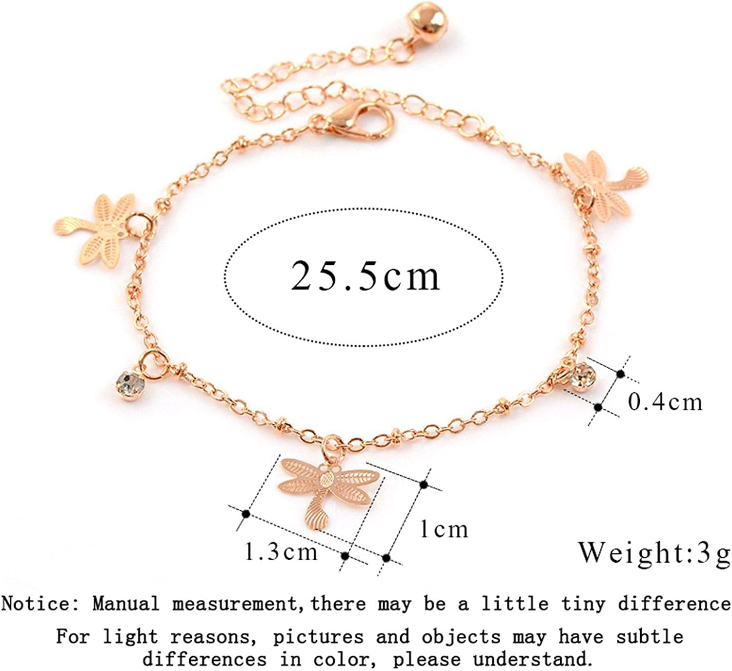 Its-ok Fashion Dragonfly Anklet Bracelet on The Leg for Women Fashion Chain on Foot Girl Beach Ankle Bracelets Jewelry