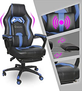 Video Gaming Chair Racing Recliner - Ergonomic Adjustable Padded Armrest Swivel High Back Footrest with Headrest Lumbar Support Leather Breathable Bucket Seat Home Office Massage(Black & Blue)