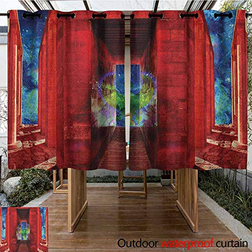 AndyTours Grommet Outdoor Curtains,Egypt,Phoenix Greek Mythical Creature Reborn Bird in Building with Stairs Digital Image,Insulated with Grommet Curtains for Bedroom,K140C183 Orange Blue (Curtains Phoenix Patio Outdoor)