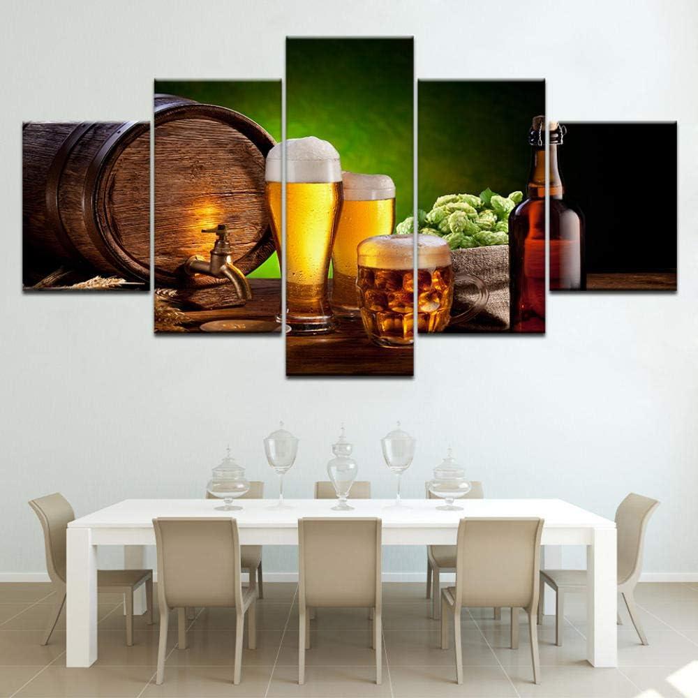 Wodes 5 Piezas De Cerveza Con Barriles Pintados En Lienzo Cocina Y Restaurante Occidental Decorado Paisaje Bar Salón Bar 30 * 40 * 2 30 * 60 * 2 30 * 80Cm Marco de madera