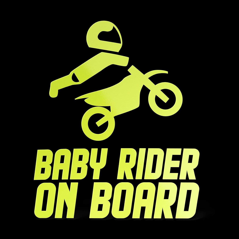 cm 15 ERREINGE Sticker BABY RIDER ON BOARD NERO Adesivo prespaziato in PVC per Moto Motocross Scooter Bike Casco Vespa