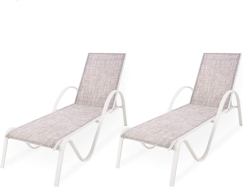 Edenjardi Pack 2 tumbonas jardín reclinable y apilable, Tamaño: 203x64x33 cm, Aluminio Blanco y textilene Color taupé Jaspeado