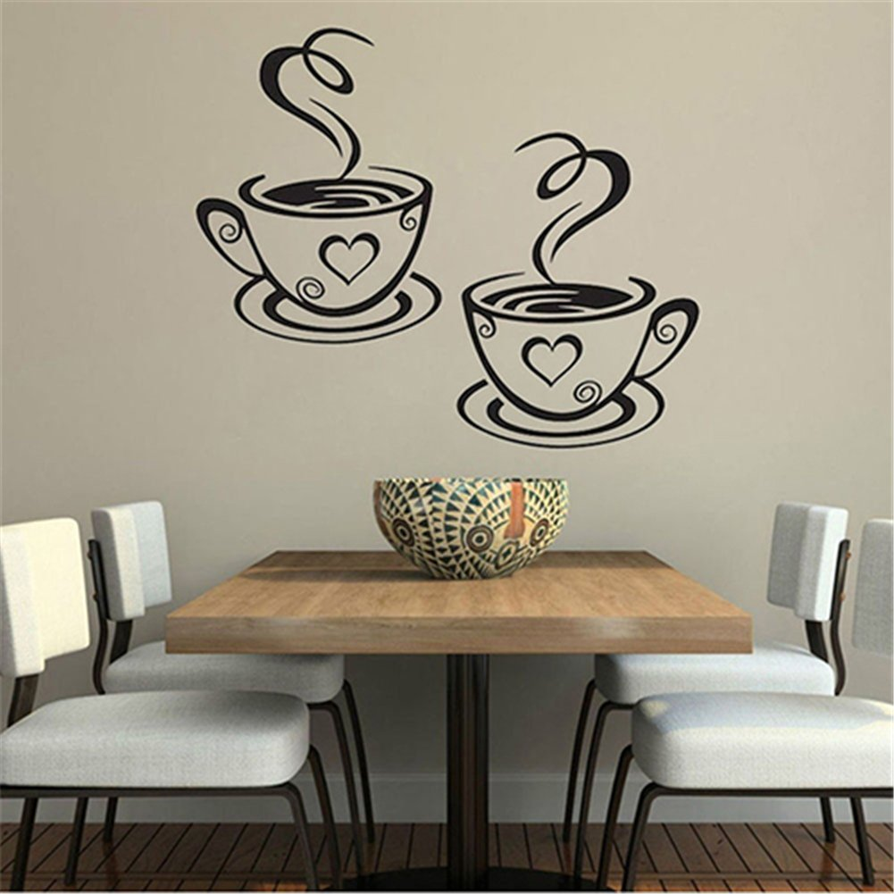 dds5391 Home Kitchen Restaurant Cafe Tea Wall Sticker Coffee Cups Sticker Wall Decor