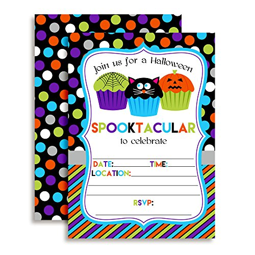 Spooktacular Halloween Cupcake Birthday Party Invitations, Ten 5