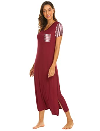 Hotouch Sleepwear Women s Casual Nightgown Short Sleeve Striped Nightshirt  Long Soft Sleep Dress at Amazon Women s Clothing store  57e061c81