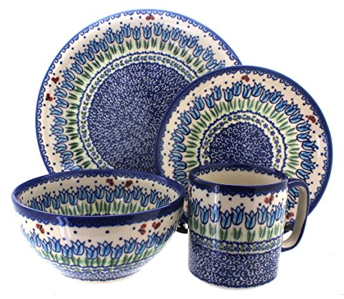 Polish Pottery Garden Tulip 4 Piece Dinner Set