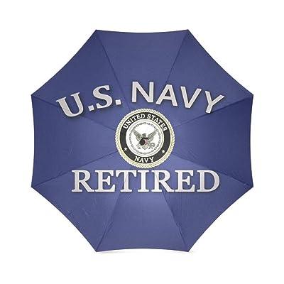 EnnE Umbrella US Navy Retired Umbrella Foldable Compact Travel Umbrella Rain Umbrellas 8 Ribs UV Protection